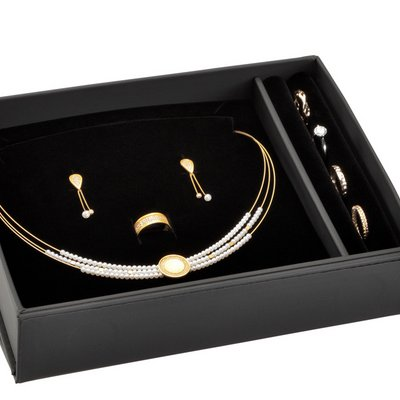 Packaging for a complete jewellery set high quality black LESER