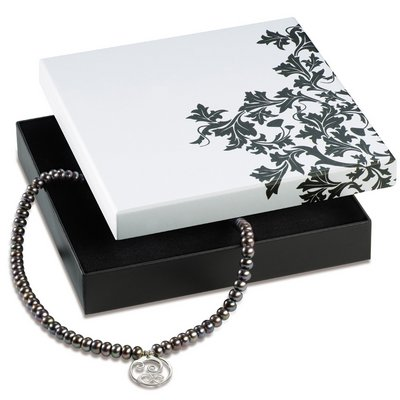 Jewelry box Jewelry packaging in black and white for a necklace made of cardboard LESER