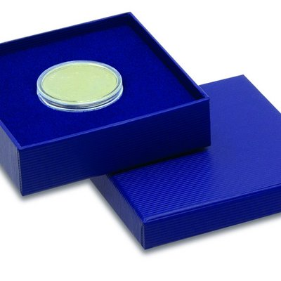 Case for coin capsules covered with blue cardboard