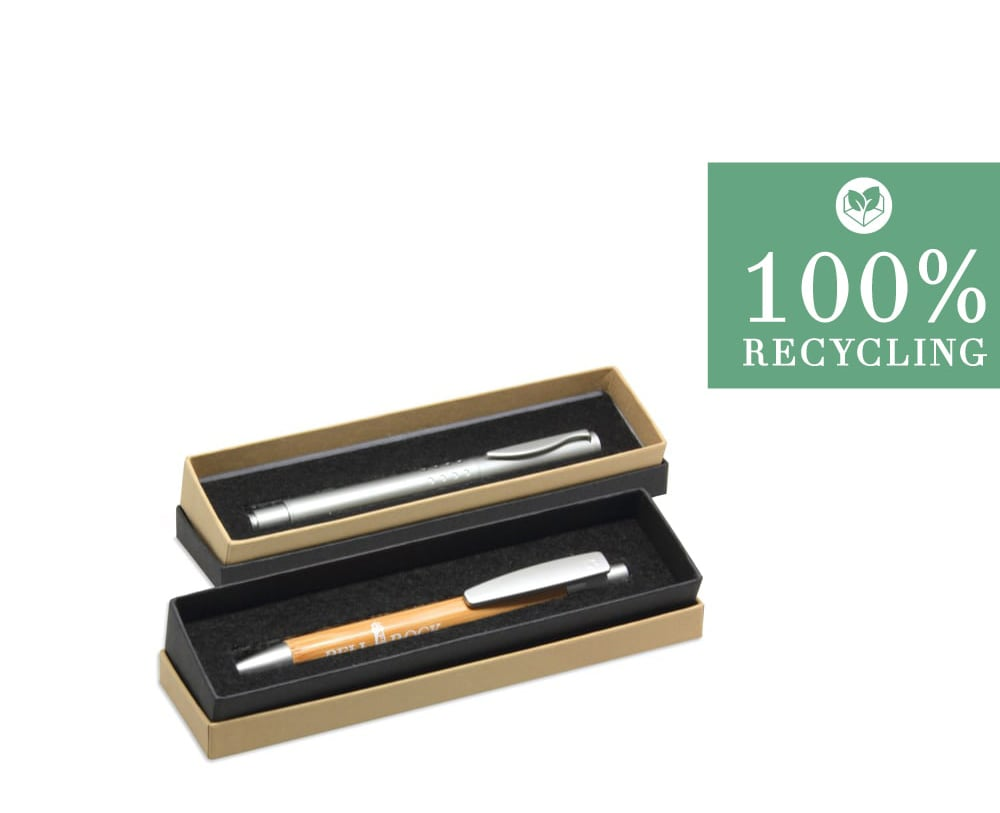 We also produce packaging for ballpoint pens that consists of 100 percent recycled materials!