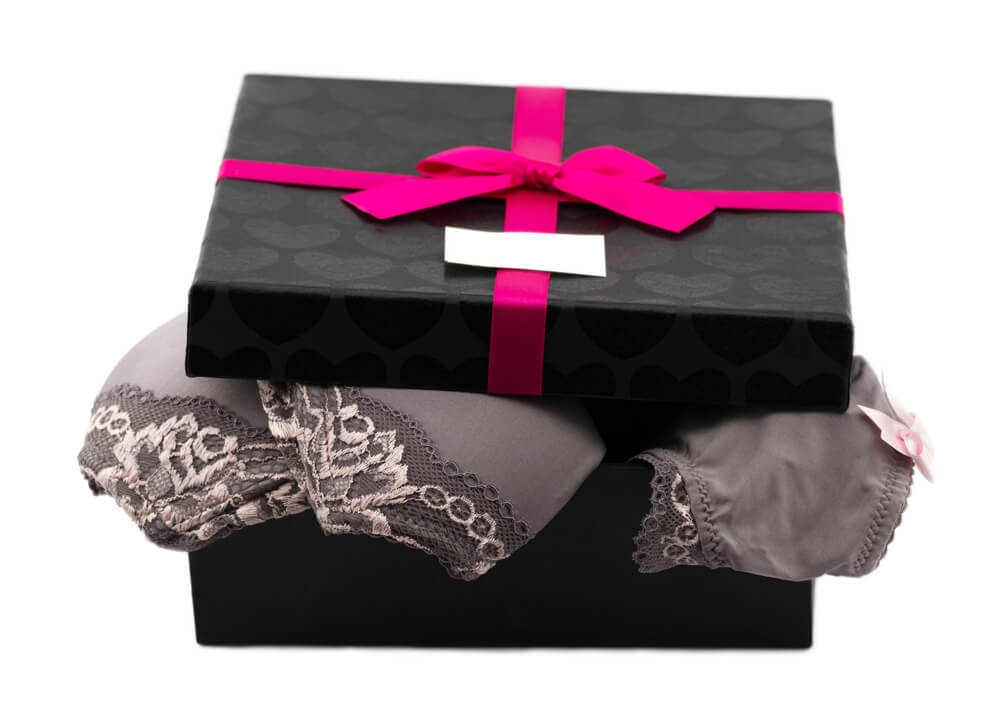 Gift boxes in retail trade as high-quality packaging for clothes