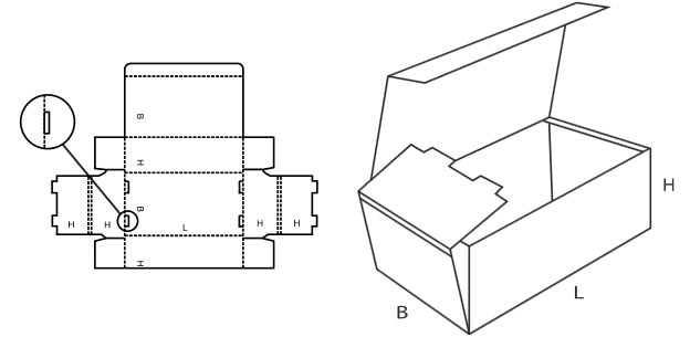 Sketch of a shipping carton with the construction according to Fefco 0421 | © www.fefco.org