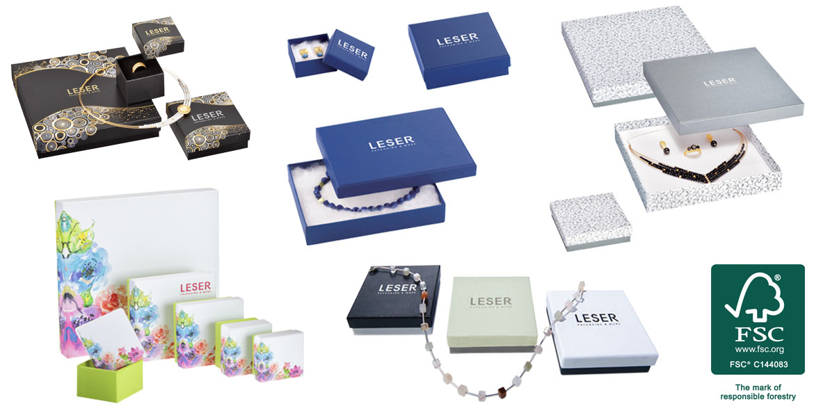 FSC®-certified products and series from LESER GmbH - Packaging made of FSC®-certified materials - FSC cardboard boxes