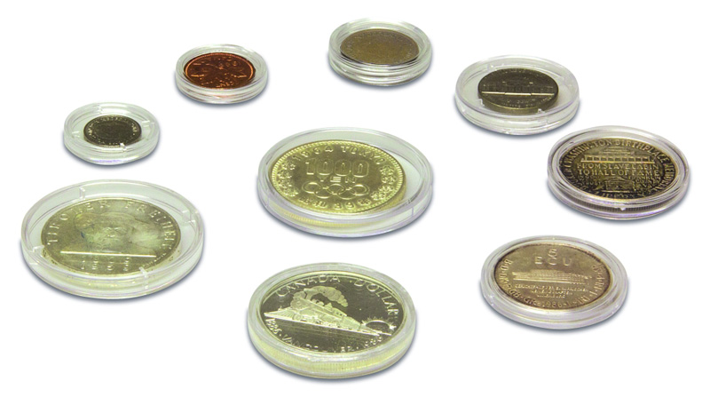 Coin capsules in different sizes as an alternative to coin cases